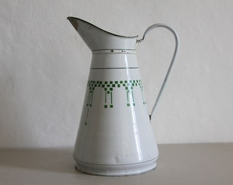 Shabby Chic Antique French Enamel Pitcher/ Jug White and Green Art Deco Style