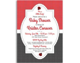 ladybug baby shower invitation, baby girl shower, printable baby shower invitation, baby shower invites, polka dot baby shower invitation