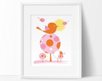 baby girl nursery decor, pink and orange, modern nursery art, Printable nursery, Bird nursery, baby room art, nursery printables, kids art