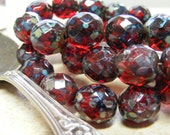 FROSTED CHERRIES (6) - Czech Glass Bead - 12mm - Red Garnet Picasso Faceted Round (bk882)