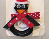 Penguin Clip, Black, White, Red,  Photo Prop, Toddlers, Girls, Hair Clip, Hair Accessory, Christmas, Holiday, Winter, Orange, Winter,  baby