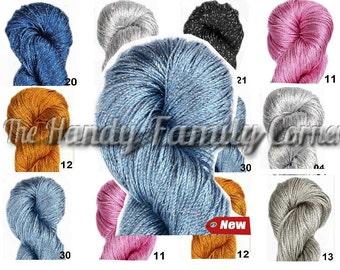 Summer yarn sparkle. Lurex, glitter poliamide sleek cool yarn. Yarn Bliasyk. Colour of your choice. Wholesale DSH SALE