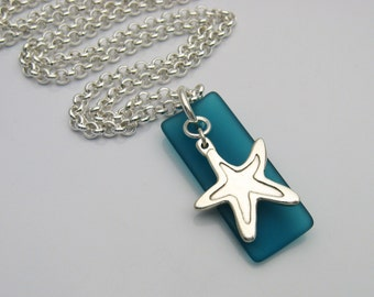 Starfish and Sea Glass Necklace, Handmade Silver Starfish, Blue Sea Glass, Sea Glass and Starfish, Sea Glass Jewelry, Long Necklace, Beach