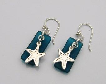 Starfish and Sea Glass Earrings, Handmade Silver Starfish, Blue Sea Glass, Sea Glass and Starfish, Sea Glass Jewelry, Long Earrings, Beach