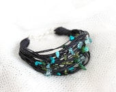 Nature linen bracelet with marble, coral, jade. Spring fresh colors, green & blue. Layered black string