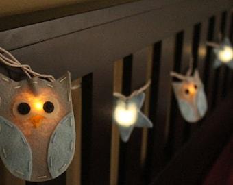 Fairy Lights, Nursery Night light - Baby Blue Owl & Baby Blue Star String Lights/Nightlight
