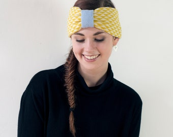 Yellow triangle knitted headband - made in Britain from lambswool