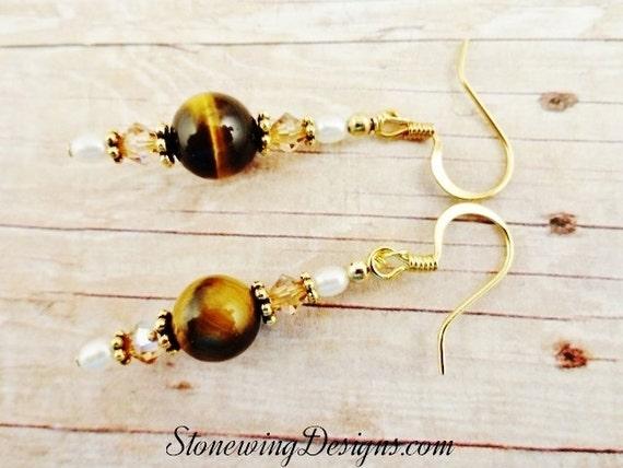 Tigers Eye Earrings, Stone Crystal Pearl Earrings, Brown Earrings, Brown Gemstone jewelry, Tiger's Eye Earrings, Gemstone Jewelry