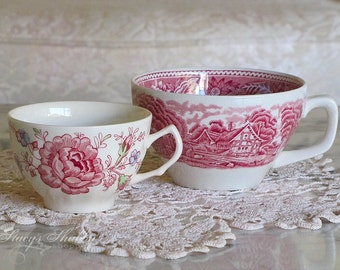 Two Pretty Vintage RED TRANSFERWARE CUPS, England, Woods And Sons, Rose Chintz, Johnson Bros