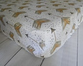 Fitted Crib/ Toddler Sheet - Watercolor Arrows // Emily Sanford // Neutrals - Gold, Brown, Grey