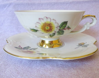 Pretty Vintage German Porcelain Johann Seltmann Yellow Roses Cup and Saucer Time for Tea