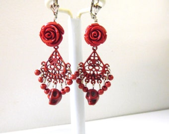 Day of the Dead Wedding Earrings Red Rose Sugar Skull  Chandelier Leverback Dangle