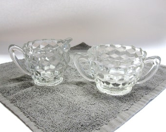 Cream Sugar Pitcher and Bowl Set Clear Diamond Pattern