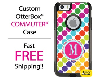 iPhone OtterBox Commuter Case for iPhone 7, 7 Plus, 6/6s, 6 Plus/6s Plus, 5/5s/SE, 5c Galaxy S7 S6 S5 Note 5 Monogrammed Stripes Polka Case