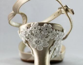 Champagne Wedding wedge -- Low wedge heels