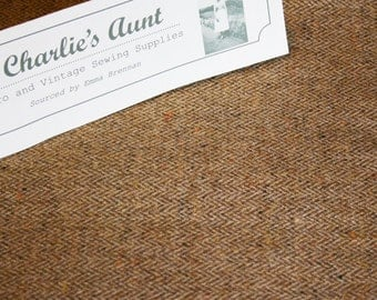 "One-ff piece of vintage wool herringbone tweed fabric in a lovely two-tone gold shade, 18"" x 58"" (half yard)"