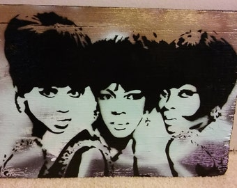 The Supremes (gold/wood panel)
