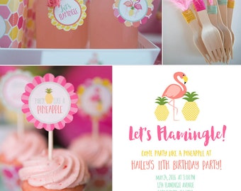 Flamingo Flamingle Party Pineapple Birthday or Shower Printables