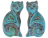 Cat sculptures // Cat art // Ceramic cats // Cat Wall art  // Cat ornaments // Pair of cats deco // 26cm // Turquoise