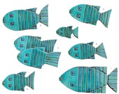 Fish wall sculpture // Fish wall art // Set of 8 fish wall tiles // Ceramic art // Garden sculpture // Turquoise