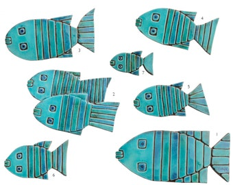 Fish wall sculpture // Fish wall art // Set of 8 fish wall tiles // Ceramic art // Garden sculpture // Turquoise