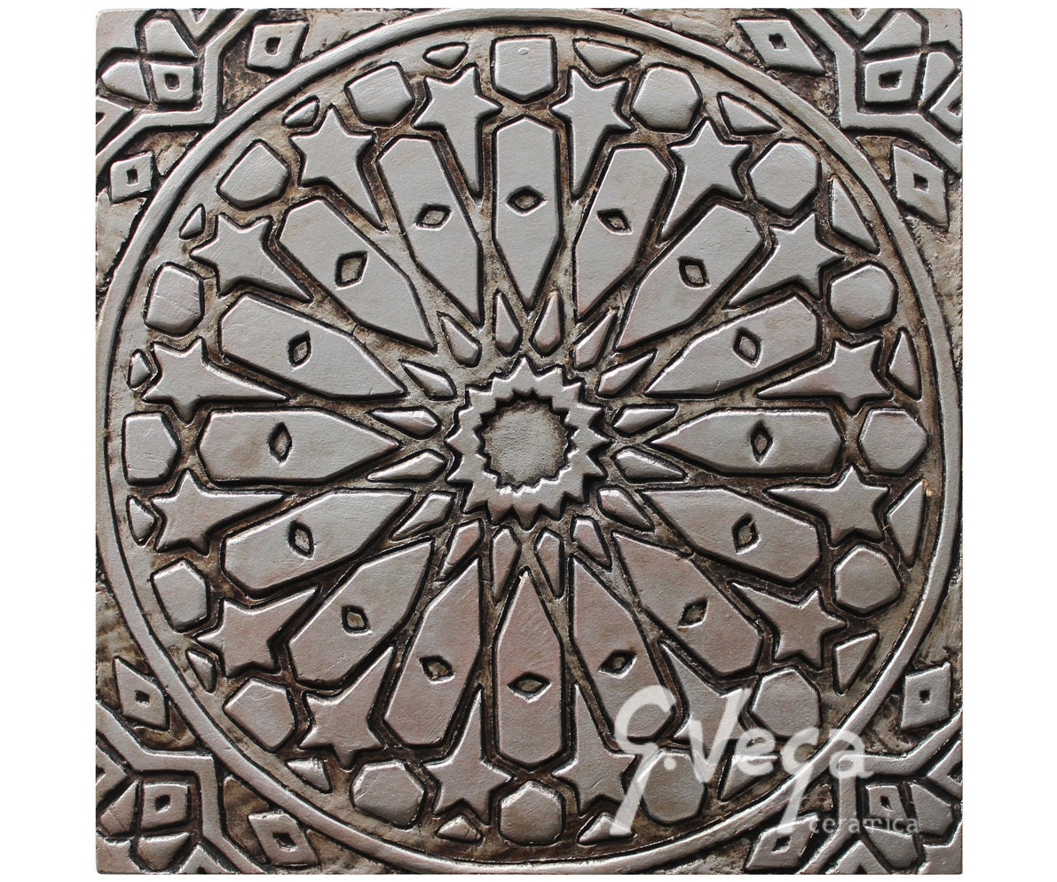 Bathroom wall art with moroccan design ceramic tile for Ceramic wall art
