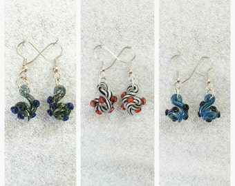 Glass Tentacle earrings Looped