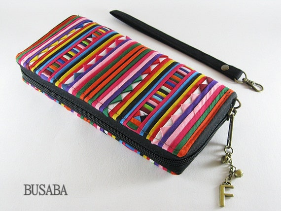 Personalized Monogramed Wallet,  Ethnic Patchwork Zippered Wallet, Colorful Hmong Tribal Long Wallet
