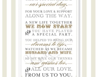 Thank You Sign 11x17, Printable Wedding Signage, Party Sign, To Our Guests, Gold and Black