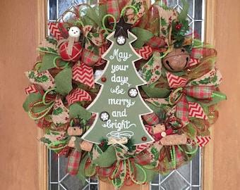 Deco Mesh Christmas Tree Wreath, Christmas Burlap Wreath, Holiday Wreath