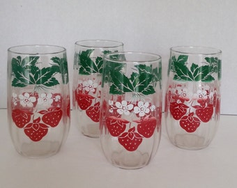 Vintage 1950s1960s Strawberry Drinking Glasses / Tumblers / Red /White / Set of 4