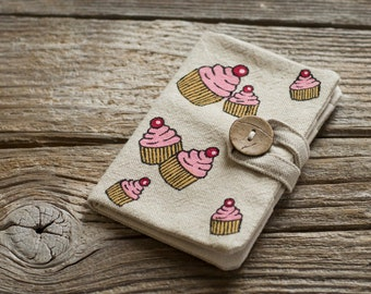 Cupcake Credit Card Wallet, Linen and Cotton Pastry Card Holder, Hand Painted Organizer