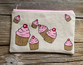 Hand Painted Cupcakes Zipper Pouch, Natural Linen and Cotton Cosmetic Bag, Pastry Fashion Accessories