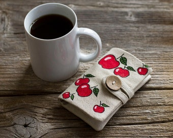 Linen and Cotton Tea Wallet with Hand Painted Apples, Tea Holder, Gift for Tea Lover