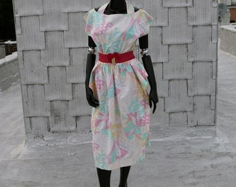 80's Cotton Cut-Out Peplum Dress