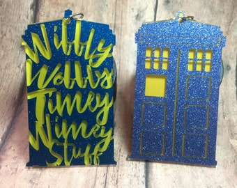 Police Call Box - Phone Booth - Doctor Who Inspired Keychain/Ornament - acrylic with vinyl
