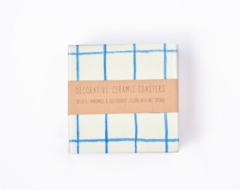 Blue Grid Coasters Watercolor Lines Minimal Modern Drink Ceramic Tile Coasters Beverage Coasters