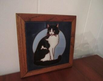 Vintage Cat Tile Framed Wall Hanging Trivet Black and White Cat
