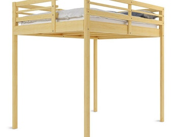 Hardwood Queen size Loft Bed very tall with slanted ladder for Tyler