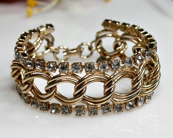 Gold Tone Rhinestone Bracelet ~ Vintage ~ Golden Metal Curb Chain ~ Retro Birthday Gift For Her / Bridal / Wedding ~ Estate Sale Jewelry