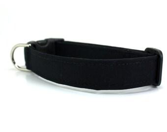 Black Dog Collar / Solid Black Dog Collar / Wedding Dog Collar