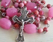 Girls Pink Rosary, Pink Rosary, Girls Rosary, Rosary Necklace, Handmade Rosary, Catholic Rosary, 5 Decade Rosary