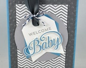 Baby Greeting Card, Baby Boy, Grey, Gray, Blue, Polka Dots, Chevron, Welcome Baby, Baby Shower, New Baby, Stamped, Handmade
