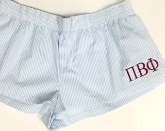 Seersucker Boxer Shorts - Monogram with Greek Letters - Pi Beta Phi - Chi Omega - Delta Delta Delta - More sororities available