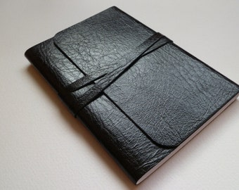 Leather Journal Leather Notebook Travel Journal Leather Book. Jet Black Shiny Leather with a Lovely Grain.