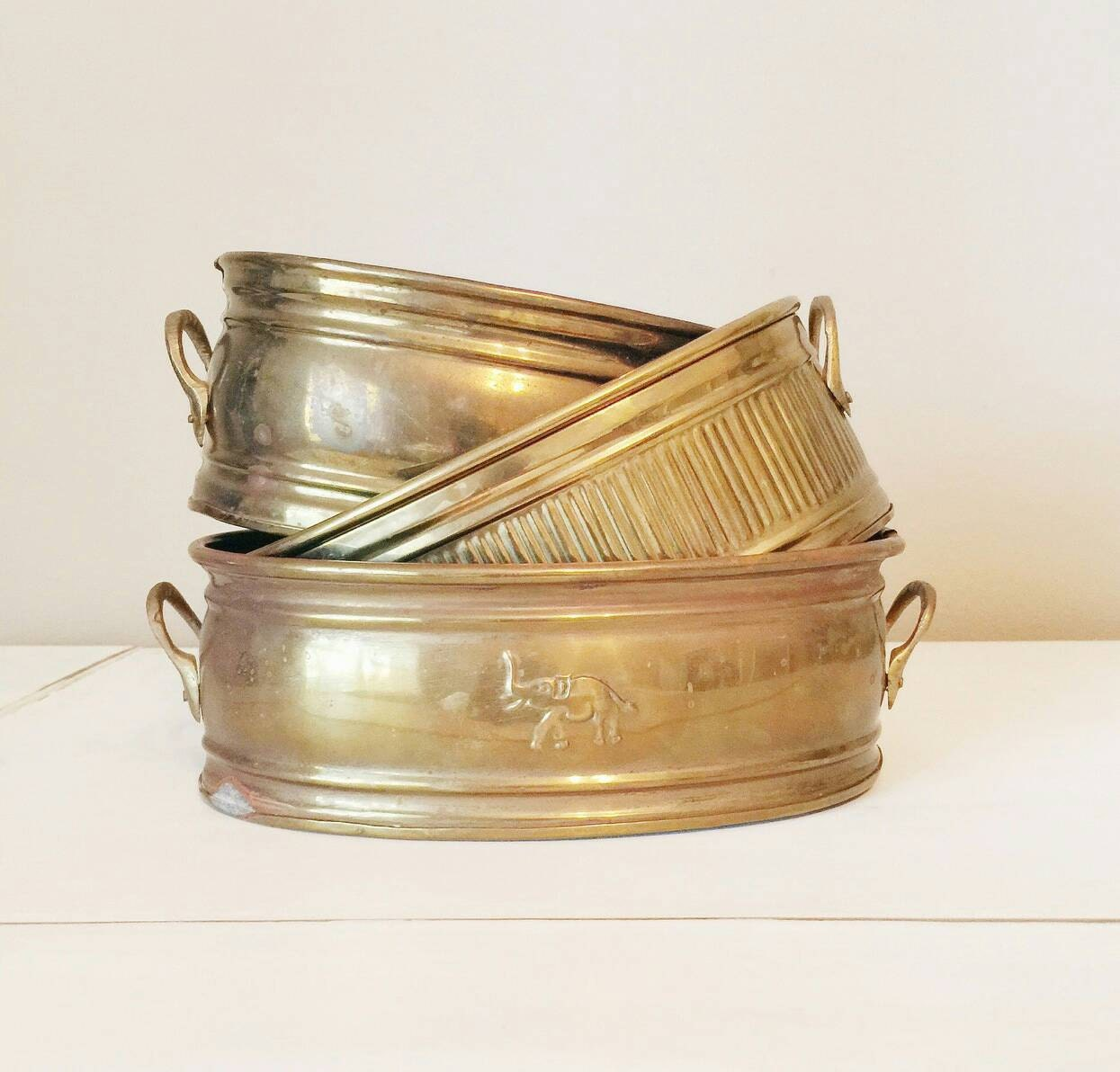 Vintage brass planters home decor