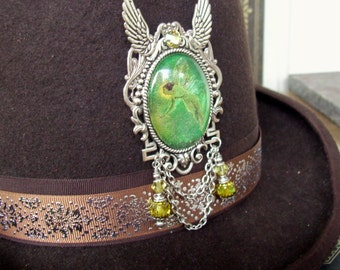 Green Absinthe Fairy (P623) Brooch or Hat Pin, Silver Hardware, Crystal Dangles and Chains, Tie Tack Pins