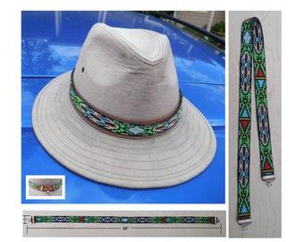 Loom Woven Seed Bead Blackfoot Design Hatband No.15