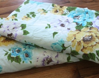 Vintage 1970's Aqua Blue + Mustard Yellow + Lavender Floral Long Curtain Panels