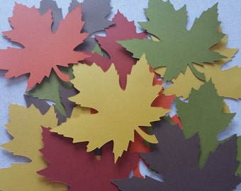 35 Fall Maple Leaves Die Cuts 3 1/2  inches